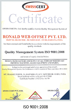 Quality Certificate Ronald India